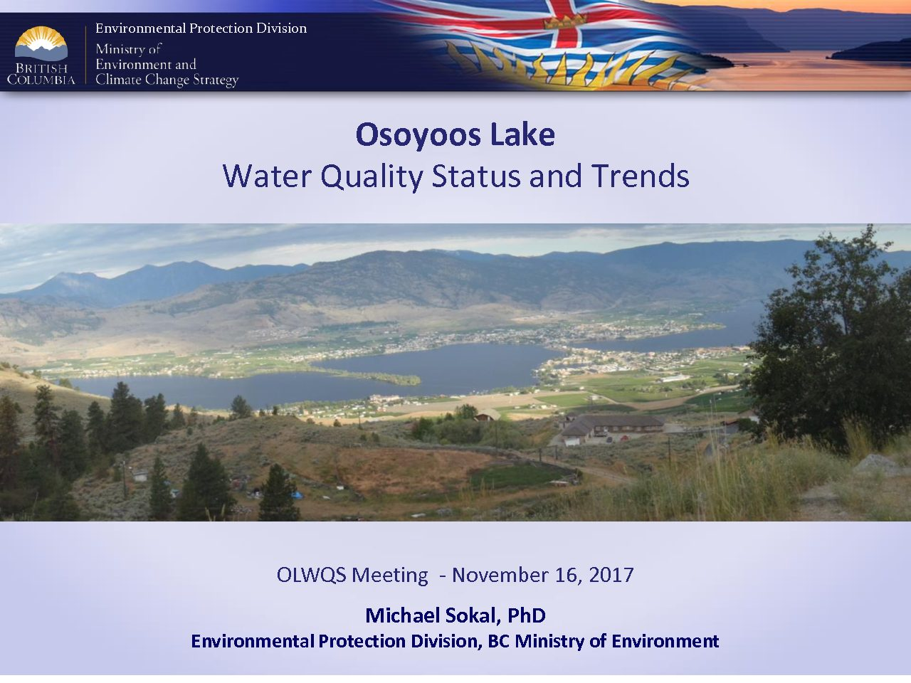 Osoyoos Lake  Water Quality Status and Trends