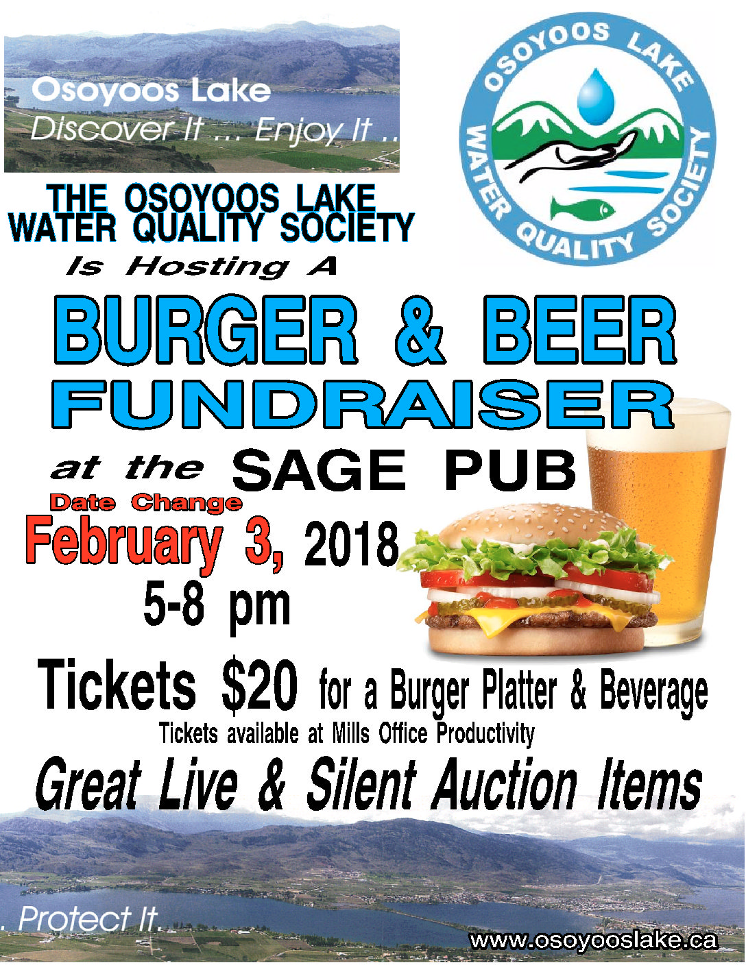 Annual Burger & Beer Fundraiser Feb 3rd, 5-8 PM Sage Pub, Osoyoos