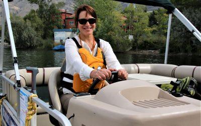 OBWB's Anna Warwick Sears inspects OLWQS' new pontoon boat